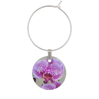 Variegated Purple Orchid Close Up Photograph Wine Glass Charms