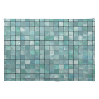 Variegated Teal Tile Pattern Placemats