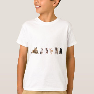 Variety of dogs, Sheltie, chihuahuas, and pugs T-Shirt