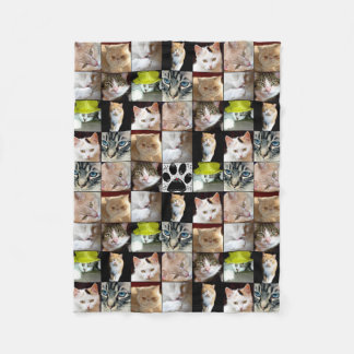 Various Cat Faces Collage Fleece Blanket