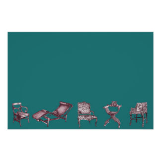 Various chairs in dark turquoise posters