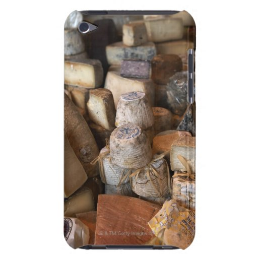 Various cheeses on market stall, full frame barely there iPod case
