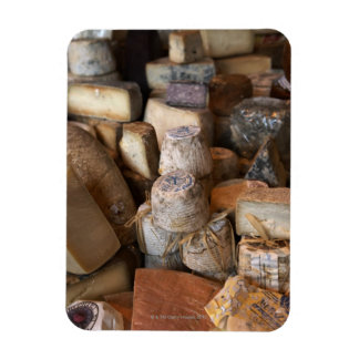Various cheeses on market stall, full frame rectangle magnets