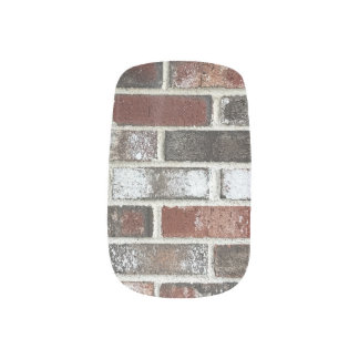various color brick wall pattern minx nail art