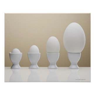 Various eggs in egg cups poster