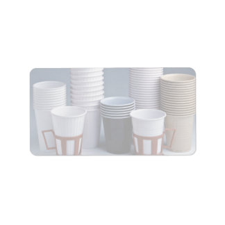 Various plastic drinking cups Photo Label