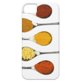 Various seasoning spices on metal spoons iPhone 5 cases