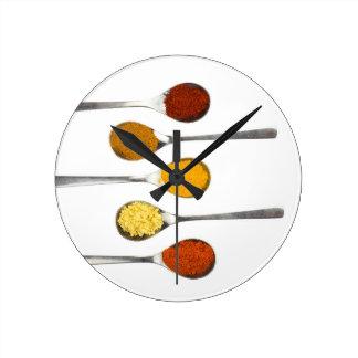 Various seasoning spices on metal spoons wall clock