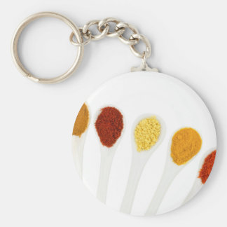 Various seasoning spices on porcelain spoons key ring