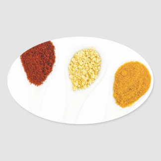 Various seasoning spices on porcelain spoons oval sticker