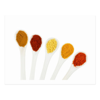 Various seasoning spices on porcelain spoons postcard