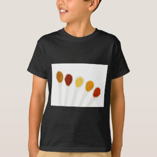 Various seasoning spices on porcelain spoons T-Shirt