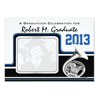 Varsity Band French Horn Graduation Photo Blue 13 Cm X 18 Cm Invitation Card