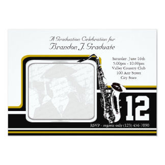 Varsity Band Graduation Photo Gold 13 Cm X 18 Cm Invitation Card