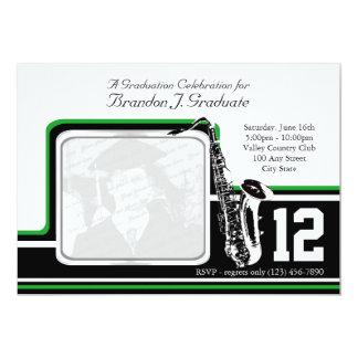 Varsity Band Graduation Photo Green 13 Cm X 18 Cm Invitation Card