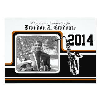 Varsity Band Saxophone Graduation Photo Orange 13 Cm X 18 Cm Invitation Card