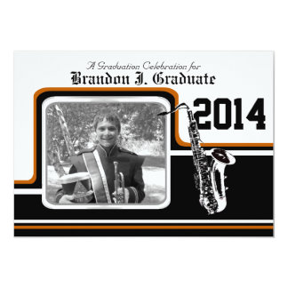 Varsity Band Saxophone Graduation Photo Orange Card