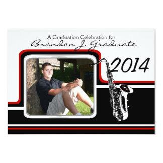 Varsity Band Saxophone Graduation Photo Red 13 Cm X 18 Cm Invitation Card