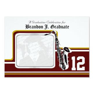 Varsity Band Saxophone Graduation Red Gold 13 Cm X 18 Cm Invitation Card
