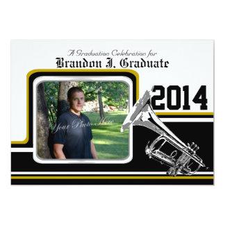 Varsity Band Trumpet Graduation Photo Gold 13 Cm X 18 Cm Invitation Card