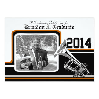 Varsity Band Trumpet Graduation Photo Orange 13 Cm X 18 Cm Invitation Card