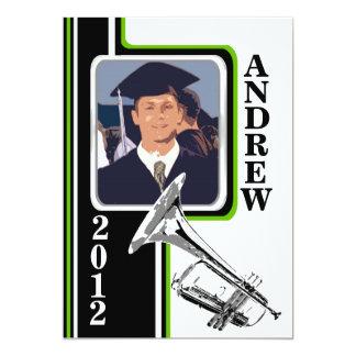 Varsity Band Trumpet Photo Graduation Green Stripe 13 Cm X 18 Cm Invitation Card