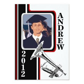 Varsity Band Trumpet Photo Graduation Red Stripe 13 Cm X 18 Cm Invitation Card