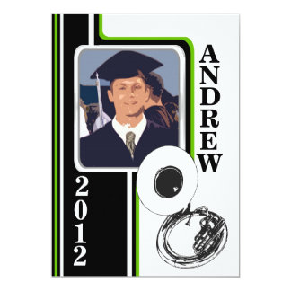 Varsity Band Tuba Photo Graduation Green Stripe 13 Cm X 18 Cm Invitation Card