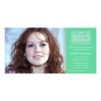 Varsity Class Of 2013 Graduation (Mint Green) Personalized Photo Card