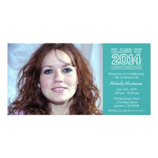 Varsity Class Of 2014 Graduation Aqua Picture Card