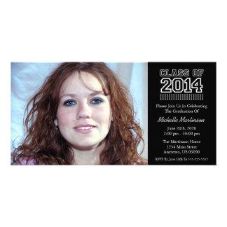Varsity Class Of 2014 Graduation (Black) Personalized Photo Card