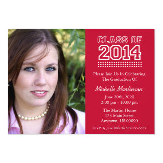 "Varsity Class Of 2014 Graduation (Burgandy Red) 5"" X 7"" Invitation Card"