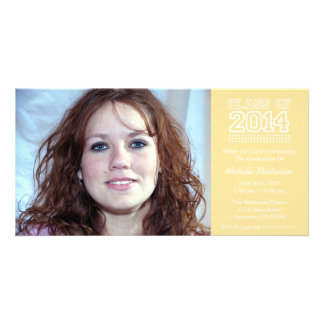 Varsity Class Of 2014 Graduation Gold Photo Card Template