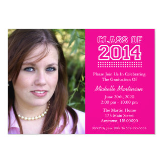 Varsity Class Of 2014 Graduation (Magenta Pink) 5x7 Paper Invitation Card