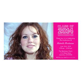 Varsity Class Of 2014 Graduation Magenta Pink Photo Greeting Card