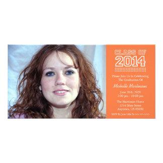 Varsity Class Of 2014 Graduation Orange Personalized Photo Card