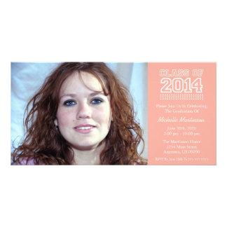 Varsity Class Of 2014 Graduation Peach Photo Greeting Card