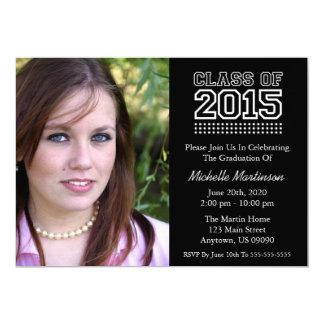 Varsity Class Of 2015 Graduation (Black) 5x7 Paper Invitation Card