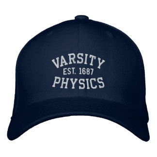 VARSITY, PHYSICS, EST. 1687 blue and white Embroidered Hats