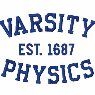VARSITY, PHYSICS, EST. 1687 blue and white Embroidered Polo Shirt