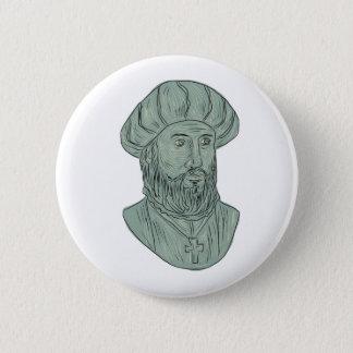 Vasco da Gama Explorer Bust Drawing 6 Cm Round Badge