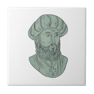 Vasco da Gama Explorer Bust Drawing Ceramic Tile