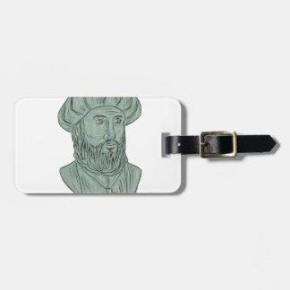 Vasco da Gama Explorer Bust Drawing Luggage Tag