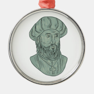 Vasco da Gama Explorer Bust Drawing Metal Ornament