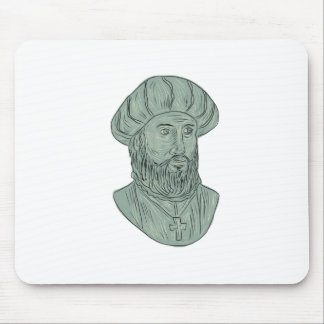 Vasco da Gama Explorer Bust Drawing Mouse Pad
