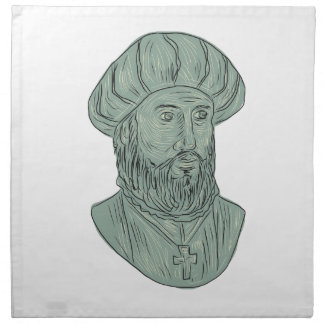 Vasco da Gama Explorer Bust Drawing Napkin
