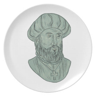 Vasco da Gama Explorer Bust Drawing Plate