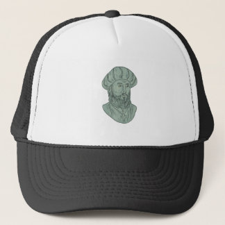 Vasco da Gama Explorer Bust Drawing Trucker Hat