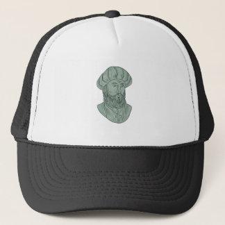 Vasco da Gama Explorer Bust Drawing Trucker Hat