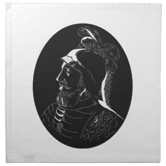 Vasco Nunez de Balboa Conquistador Woodcut Napkin
